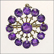 Amethysts on Sterling Silver Pin /Pendant