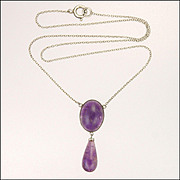 Sterling Silver and Amethyst Drop Necklace