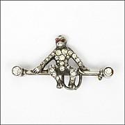 Art Deco European Silver Paste Monkey Pin