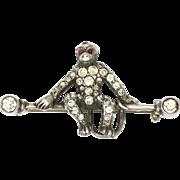 Art Deco European Silver Paste Monkey Pin - Red Tag Sale Item