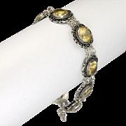 Italian 800 Silver and Citrine Bracelet