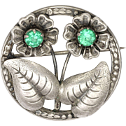 English Sterling Silver and Pastes Flower Pin - signed WBs
