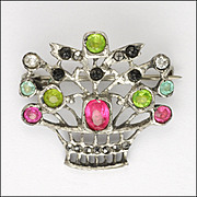 European 800-900 Silver and Pastes 'Basket of Flowers' Pin