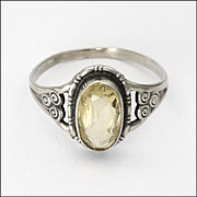 9K White Gold and Pale Citrine Ring