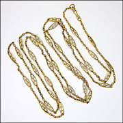 "French Antique Silver Gilt Decorative Long Guard Chain - 60"" - 34.5 grams"