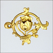 French Art Nouveau Gold Filled Tulip Watch Pin - FIX