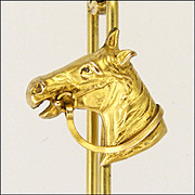 French Gold Filled Horse's Head Tie Pin - FIX