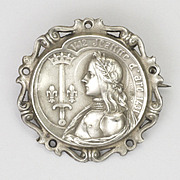 French Antique Silver Joan of Arc Pin  - signed A Bargas
