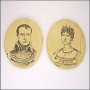 A Pair of French Napoleon and Josephine Ivorine Plaques