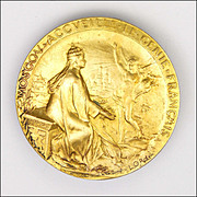 French Circa 1900 Moscow Greeting French Genius Large Gold Plated Medal - ROTY
