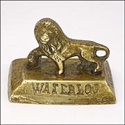 Antique Brass Lion Battle of Waterloon Souvenir