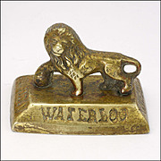 Antique Brass Lion Battle of Waterloon Souvenir