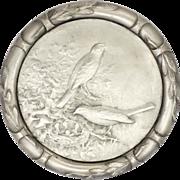 Swiss Silver Plated Birds on Nest Presentation Medal - HUGUENIN