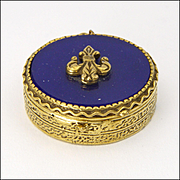 French Fleur de Lis Gilt Brass and Glass Pill Box