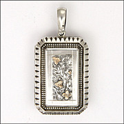 Victorian Silver with Gold Overlay Rectangular Locket