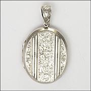 Victorian Sterling Silver Heavy Engraved Locket - 23 grams