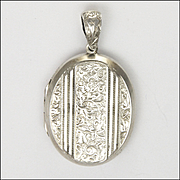 Victorian Sterling Silver Heavy Engraved Locket - 23 grams