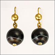 Victorian Scottish Agate Ball Earrings with Silver Gilt Tops