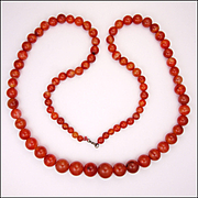Victorian Scotish Carnelian Agate Bead Graduated Opera Length Necklace