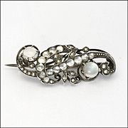 Victorian 800 Silver and Moonstone Pin