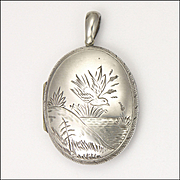 Victorian Silver Aesthetic Period Bird Locket