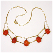 Art Deco Silver Gilt Carnelian Agate Scarab Necklace