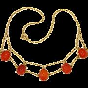Art Deco Silver Gilt Carnelian Agate Scarab Necklace