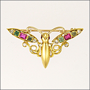 Antique 15K Gold Ruby Emerald and Diamond Bug Pin