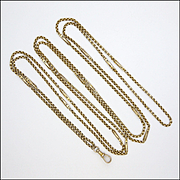 "Victorian 9k Gold Decorative Long Guard Chain - 65"" - 26 grams"