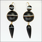 Victorian Scottish Agate on 9K Gold Drop Earrings - Pierced Ears