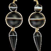 Victorian Scottish Agate on 9K Gold Drop Earrings - Pierced Ears