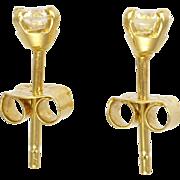 English Diamond 0.35 Carat Stud Earrings on 18K Gold