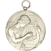 French Art Deco Silvered Bronze St. Cecelia Pendant Medal -GALTIE