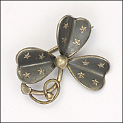 French Circa 1900 Niello Trefoil Clover with Gold Stars Pin