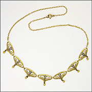 French Art Deco 18K Gold Filled Necklace - MURAT