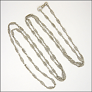 "French Circa 1900 Silver Long Guard Chain - 55"" - 21.5 grams"