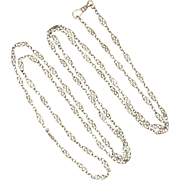 "French Circa 1900 Silver Long Guard Chain - 55"" - 21.5 grams"