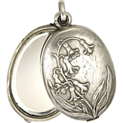 French Art Nouveau Silver Bluebells Mirror Slide Pendant