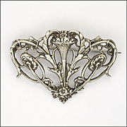 French Art Nouveau Pierced Silver Pin