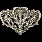 French Art Nouveau Pierced Silver Pin