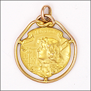 French Art Nouveau Gold Filled FIX Joan of Arc Pendant - BECKER
