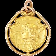French Art Nouveau Gold Filled FIX Joan of Arc Pendant - BECKER