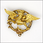 French Art Nouveau Gold Filled Griffin Pin - FIX