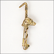 French18K Gold Filled Riding Crop and Dog Pin - FIX