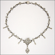 French 1930's Silver Paste Basket of Flowers Drop Necklace