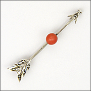 French Art Deco Silver and Coral Cupid's Arrow Pin
