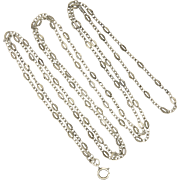 "French Antique Silver Guard Chain - 56"" - 14.2 grams"