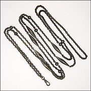 French Victorian Gunmetal Guard Chain