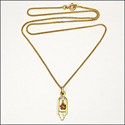 French Art Deco Gold Filled Rose Necklace - ORIA