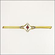 French Circa 1910 Gold Filled Paste Bar Pin - ORIA
